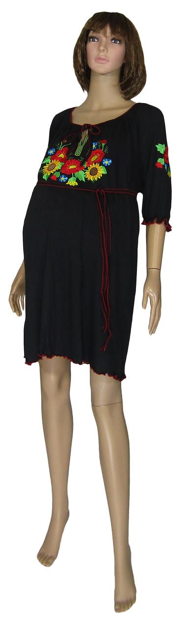 Туника платье для беременных 616 Вышиванка Батал Маки и Подсолнухи One Size, р.р.60-64