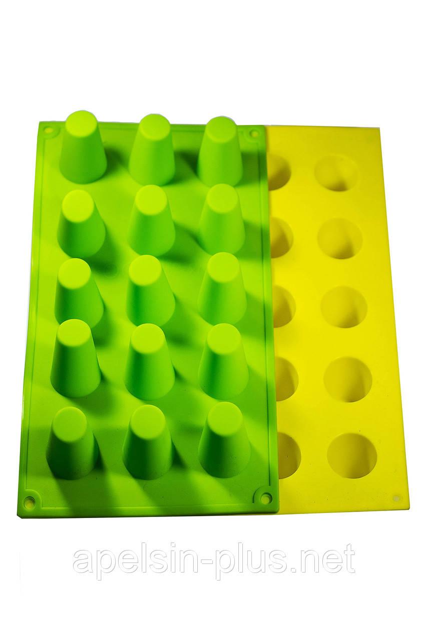 Силиконовая форма для евродесертов Цилиндры из 15 ячеек