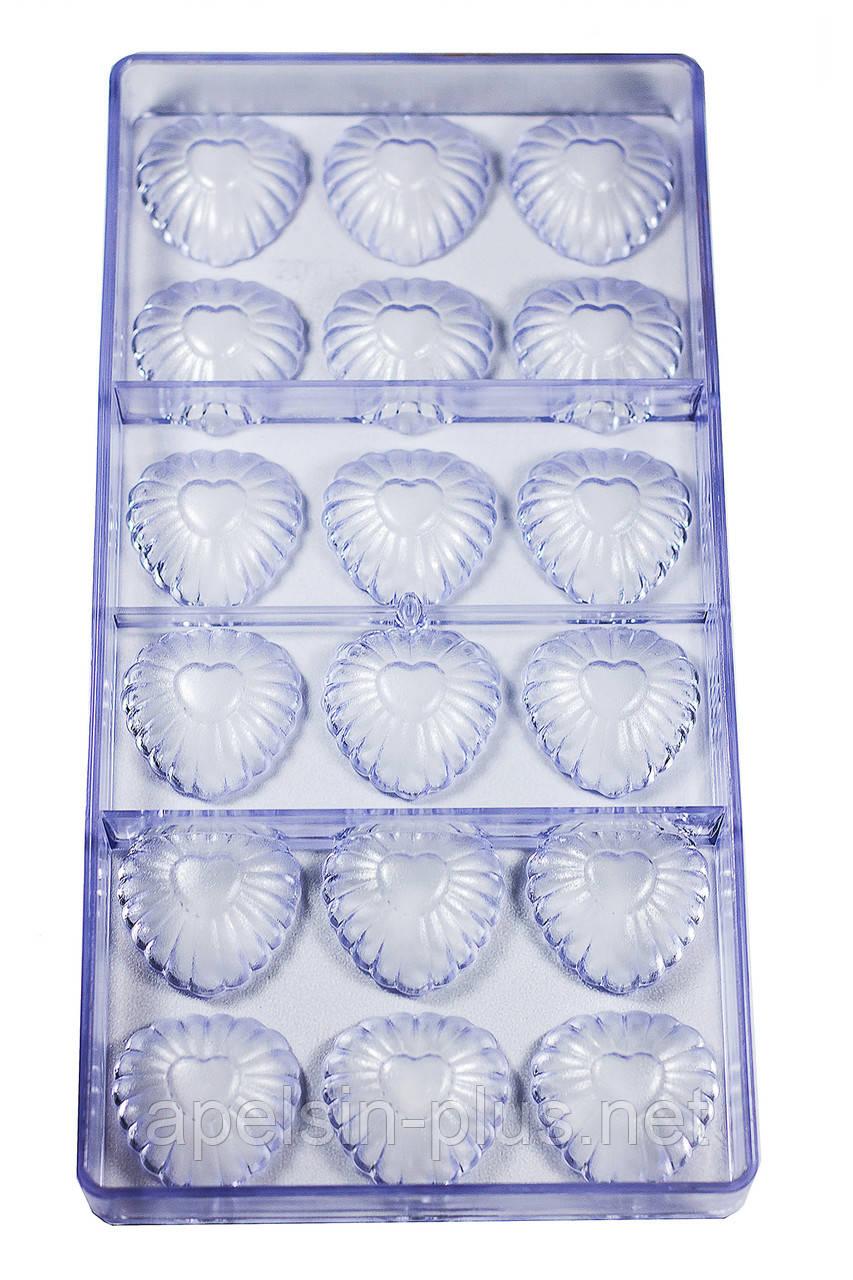 """Поликарбонатная форма для шоколада """"Ажурные сердца"""" 18 ячейки"""