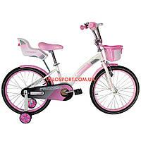 Детский велосипед Crosser Kids Bike 20 дюймов с сиденьем для куклы бело-розовый