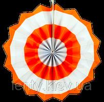 Веер бумажный в широкую полоску 40см- Оранжевый, Белый