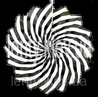 Веер бумажный в тонкую полоску карамель 40см - Черный, Белый