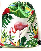 Сумка-мешок для прогулок, пляжа и сменной обуви Фламинго (двухсторонняя)