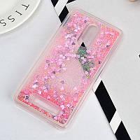 Чехол Бампер Glitter для Xiaomi Redmi Note 3 / Note 3 Pro с блестками сердце Розовый, фото 1