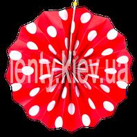Веер бумажный в крупный горох 40см - Красный, Белый