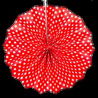 Веер бумажный в мелкий горох 40см- Красный, Белый