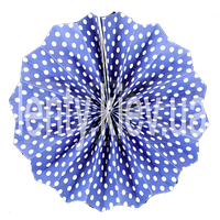 Веер бумажный в мелкий горох 40см- Синий, Белый
