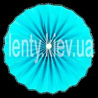 Веер бумажный однотонный с жемчужиной 40 см- Голубой