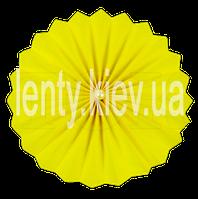 Веер бумажный однотонный с жемчужиной 40 см- Желтый