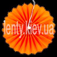 Веер бумажный однотонный с жемчужиной 40 см- Оранжевый