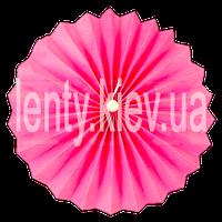 Веер бумажный однотонный с жемчужиной 40 см- Розовый