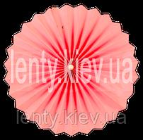 Веер бумажный однотонный с жемчужиной 40 см- Розовый светлый