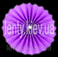 Веер бумажный однотонный с жемчужиной 40 см- Фиолетовый