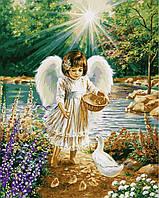 Раскраска по цифрам Ангелочек и утята