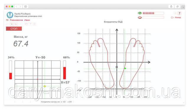 Основной интерфейс на мониторе специалиста при проведении теста
