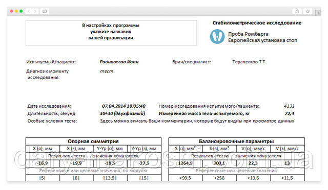 Экран предварительного просмотра протокола исследования