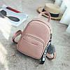 Рюкзак женский городской из экокожи с помпоном (розовый)