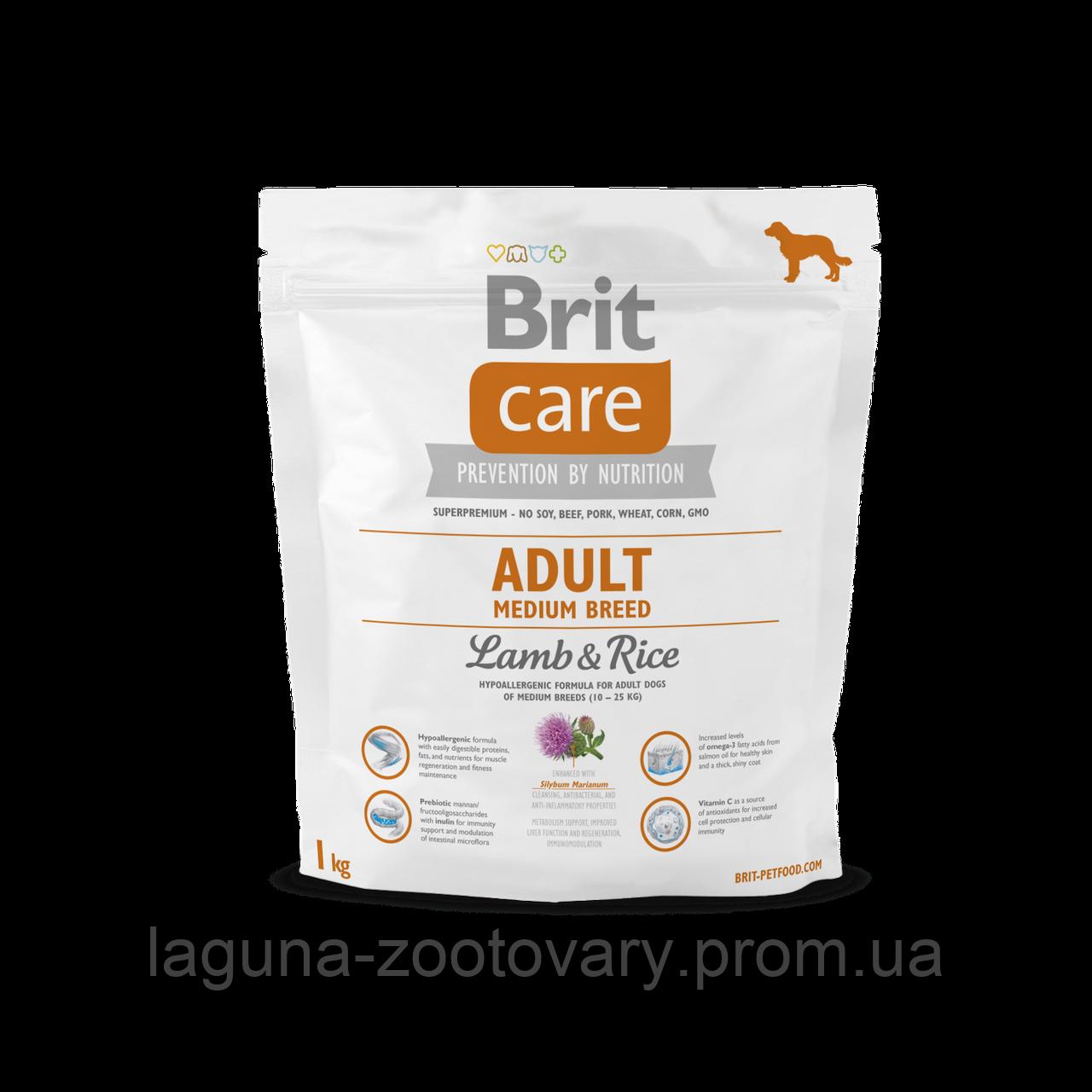 Brit Care Adult Medium Breed Lamb & Rice 1 kg (д/собак весом от 10 до 25 кг)