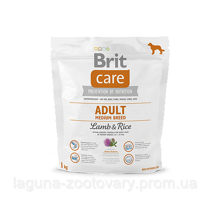 Brit Care Adult Medium Breed Lamb & Rice 1 kg (д/собак весом от 10 до 25 кг), фото 2