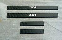 Накладки на пороги Peugeot  301 2013- 4шт. Карбон, фото 1