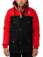 """Мужская парка-куртка """"Wind Proff"""" черная с красным """"Ястребь"""""""