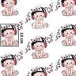 """Ткань хлопковая """"Музыкальный малыш"""" на белом фоне, №1409а, фото 6"""