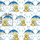 """Ткань хлопковая """"Утята с голубыми зонтами под дождём"""" на белом фоне, № 1410а, фото 6"""