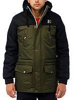 """Зимняя мужская парка-куртка """"Wind Proff"""" очень теплая оливковая с черным"""