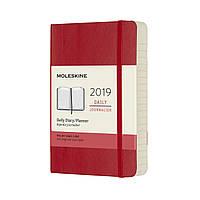Ежедневник Moleskine 2019 Датированный Карманный Красный Мягкий (9х14 см)
