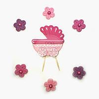 Топпер для торта - Набор для Новорожденного - Розовая Колясочка и Цветы