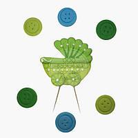Топпер для торта - Набор для Новорожденного - Зелёная Колясочка и Пуговицы