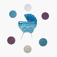 Топпер для торта - Набор для Новорожденного - Голубая Колясочка и Пуговицы
