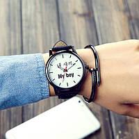 Наручные кварцевые часы с надписью Мой парень