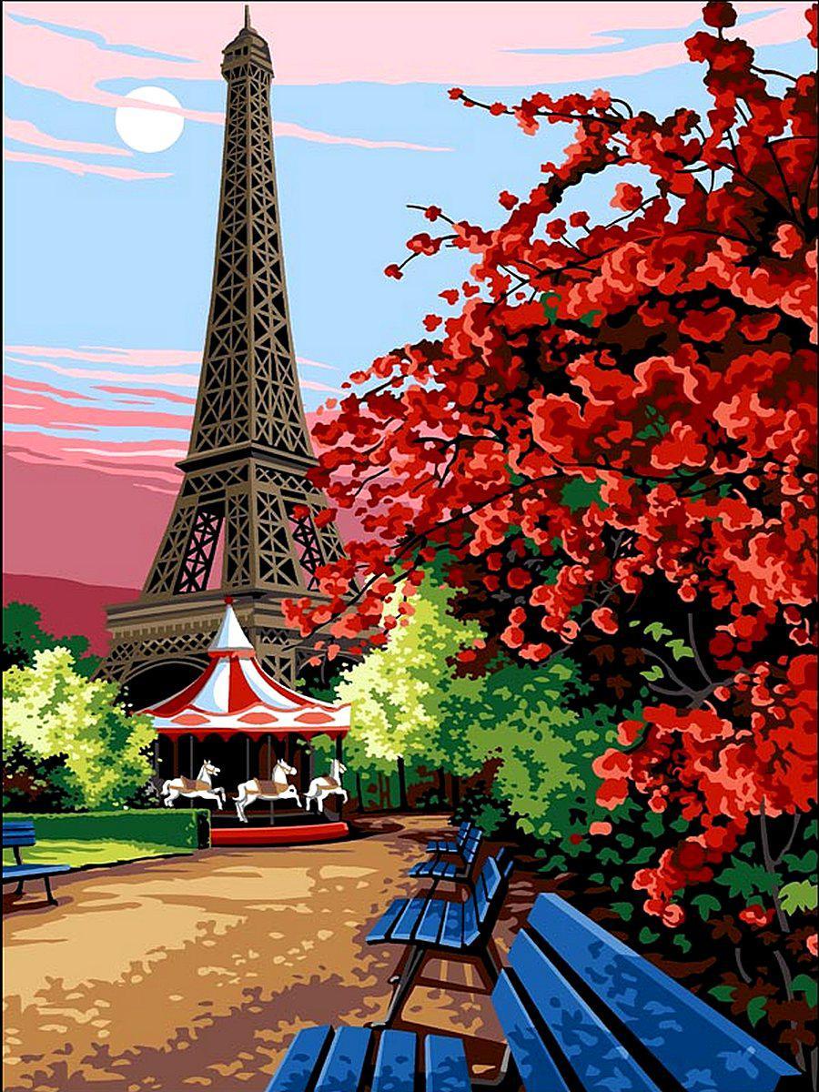 VK067 Раскраска по номерам Цветущий Париж