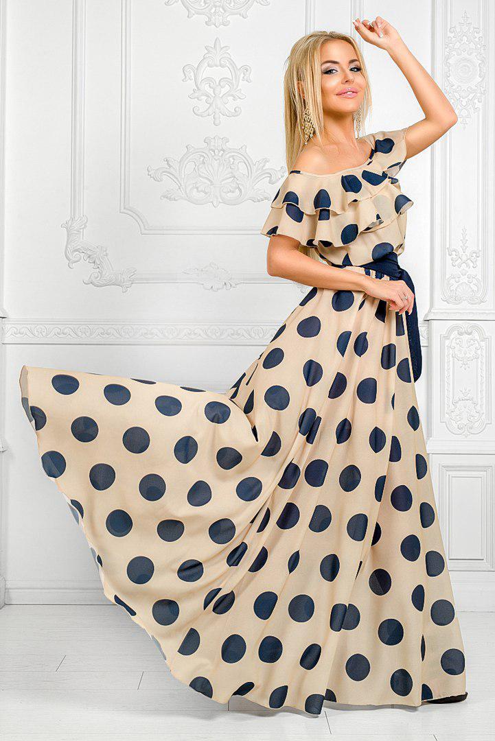 3842f380585b22a Воздушное шикарное длинное платье из шифона в горох -