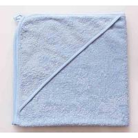 Полотенце для новорожденных с уголком голубое, 80*80 см