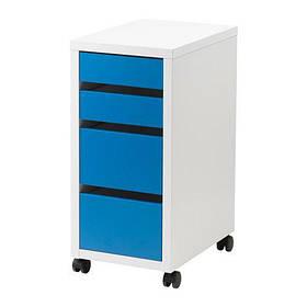 Тележка в салон красоты М205 ДСП Белый фасады Синие, колеса пластиковые (Markson TM)