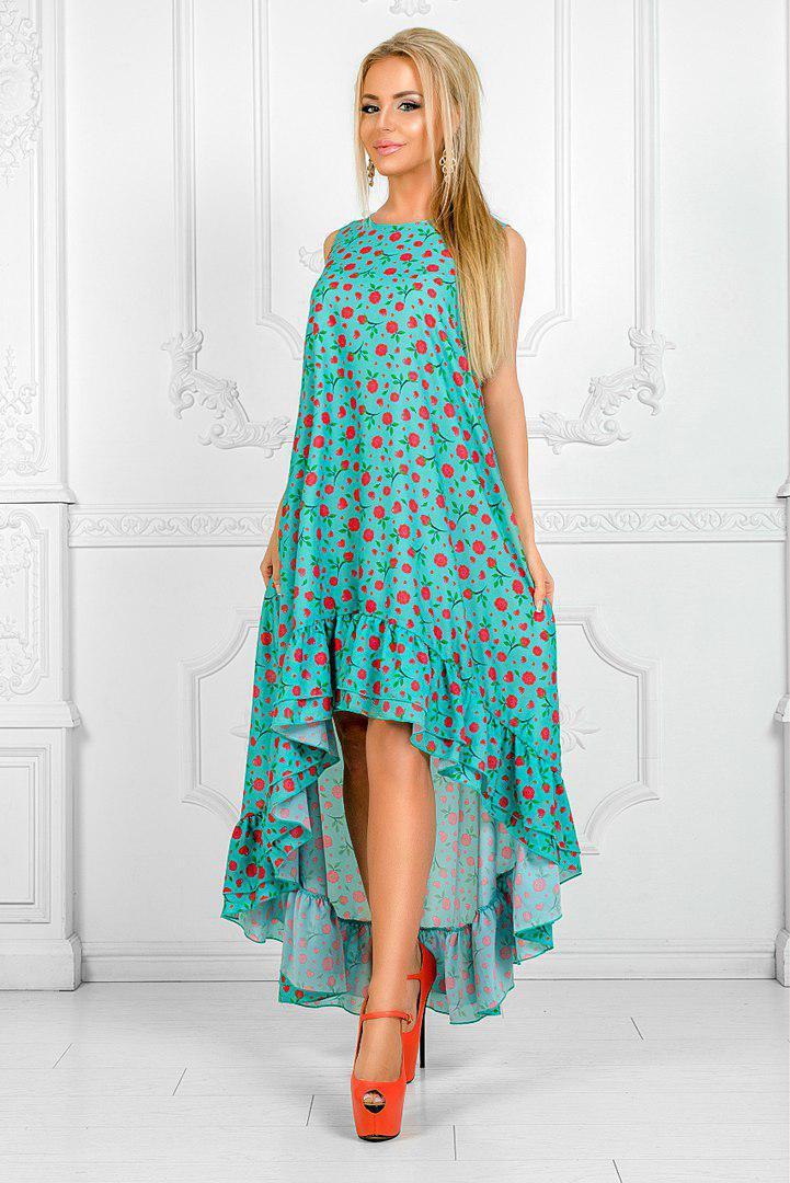 2a3b4caad245750 Летнее женское модное платье спереди короче сзади длинее -