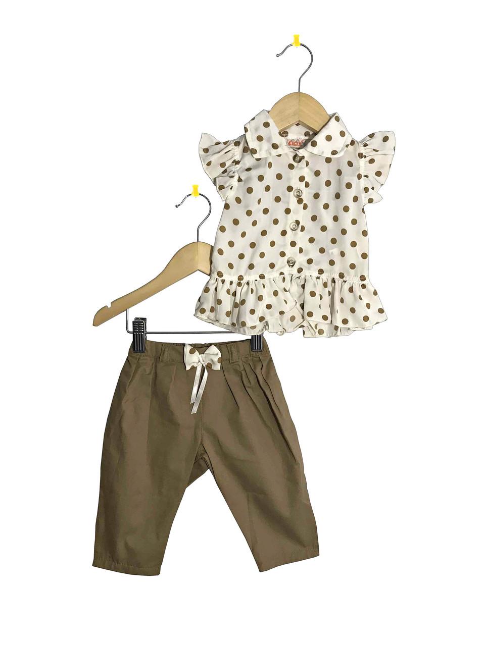 Летний костюм для девочки с блузкой в горошек