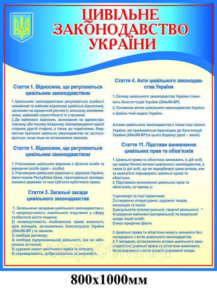 Стенд Гражданское законодательство Украины (синий)