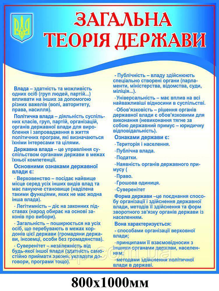 Стенд Загальна теорія держави (синій)