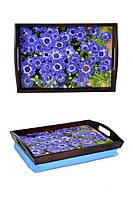 Поднос на подушке с ручками BST 48*33 коричнево-голубой Прелесть
