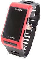 Наручные часы LED Skmei (красный корпус, черный ремешок), фото 1