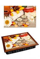 Поднос на подушке BST 040361 44*36 коричневый ромашки и свечи