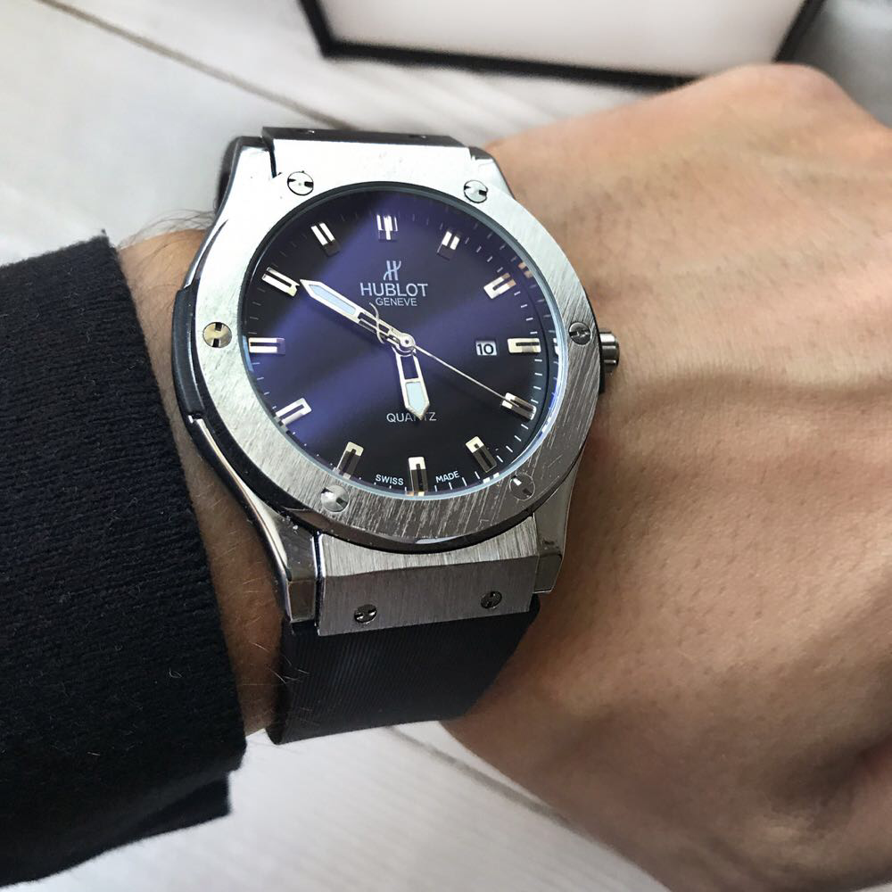 Мужские Часы Hublot Geneve Silver Хублот, чоловічий годинник, серебряный