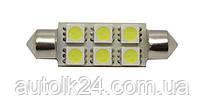 LED лампа C5W  39мм 6 SMD5050 12V