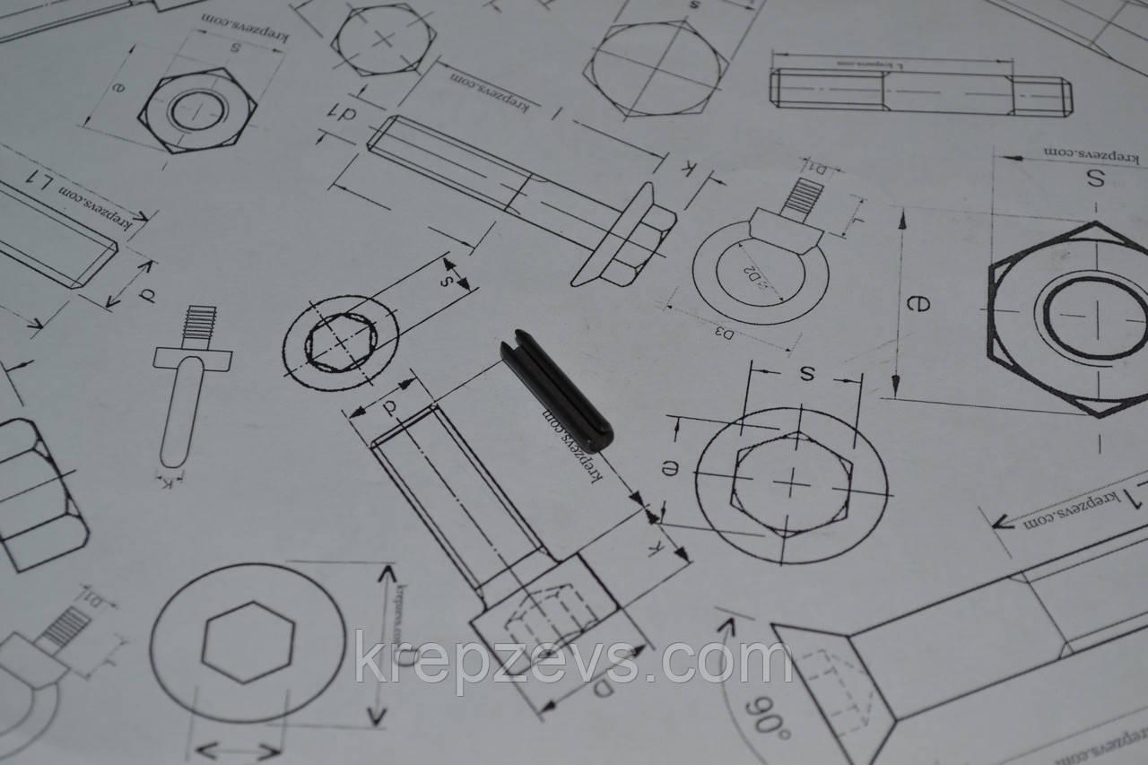 Штифт 2 мм пружинный цилиндрический разрезной DIN 1481, ГОСТ 14229-93