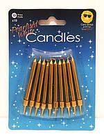Свечи для торта золотые с подставкой (10 штук)