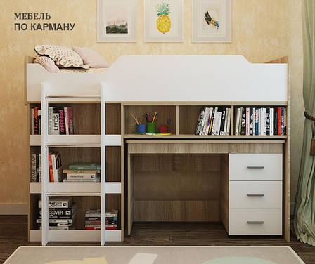 Детская кровать с лестницей и выдвижным столом Горка-2, фото 2