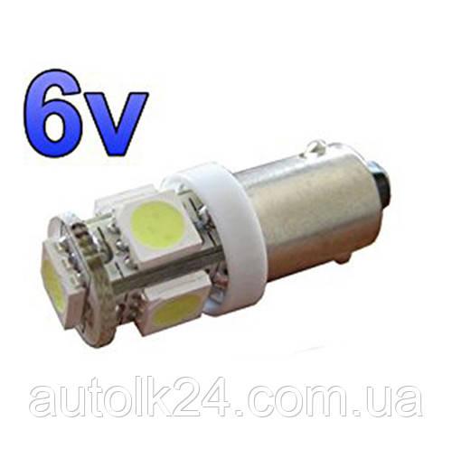 Led лампы  белый цвет BA9S 5Leds 5050SMD, 6V .